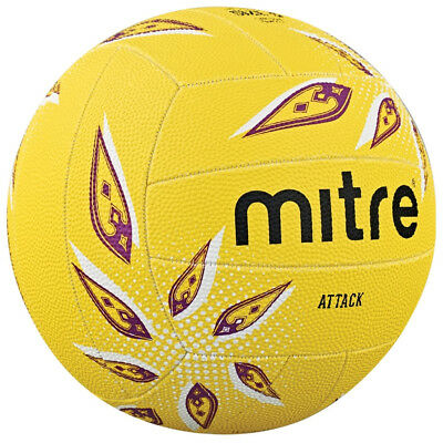 Mitre Attack Training Match All Surface Netball Ball Yellow Size 5