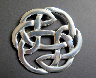 High Quality Large Celtic Irish Lughu0027s Knot Pewter Brooch Signed St Justin Cornwall