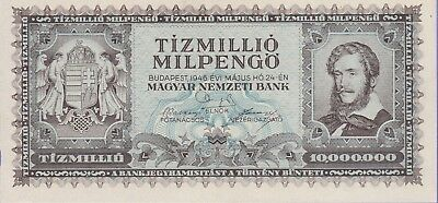 Hungary,10,000,000 Pengo Banknote,24.5.1946,Uncirculated Condition Cat#129