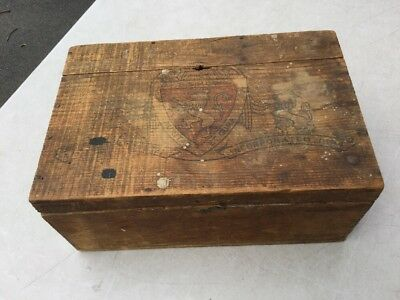 Rare Antique Primitive S S Pierce Co Pine Wood Wooden Hinged Box With Latch