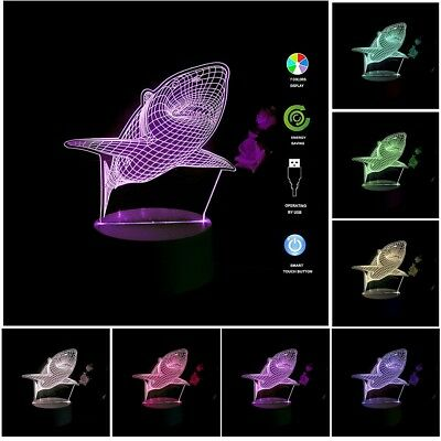 Shark 3D Night Light Remote 7 Colors Desk LED Illusion Lamp For Home Decor Gifts