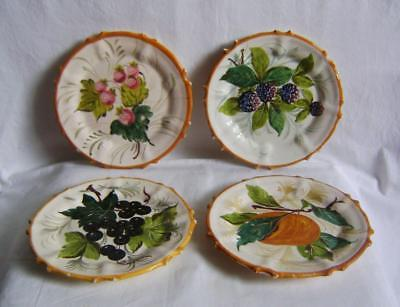Four Antique Italian Majolica / Faience Plates Painted with Fruit: one stapled