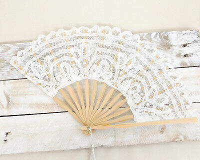 Victorian White Lace Hand Fan Wedding Bridesmaid Bridal Gift Favor Accessory