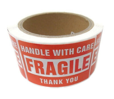 """500 Labels 2x3"""" Handle With Care Fragile Shipping, 1 Roll"""