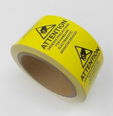 500 Esd 2 X 2 Labels Attention Electrostatic Sensitive Static Warning , 1 Roll