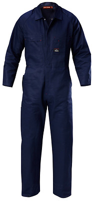 CTE Cotton Drill Heavy Duty Coverall Navy 127S Proban Fire Retardant  - 3 PACK