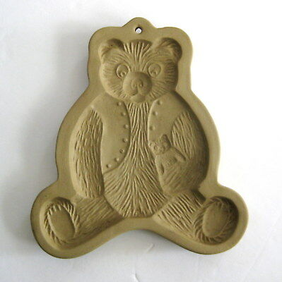 "Brown Bag Cookie Art Mold Teddy Bear 6"" Stoneware Vintage 1984"