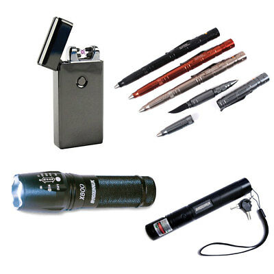 USB Rechargeable Lighter/Tactical Defender Pen/Laser Pointer/LED X800 FlashLight