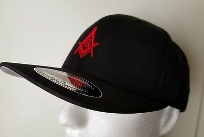 51ac3285907 Masonic Hats Flexfit 3D Puff Embroidery Black Red Cap Hat Square Masonic  Gears