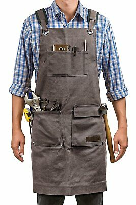 Waxed Canvas Shop Apron Heavy Duty Work Apron with Pockets Adjustable M to XXL