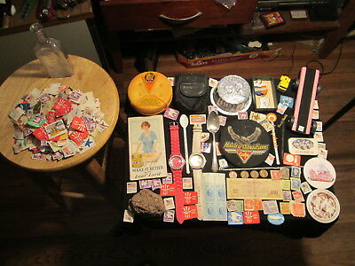Junk Drawer Lot estate sale old coins watches stamps HARLEY DAVIDSON EAGLE PATCH