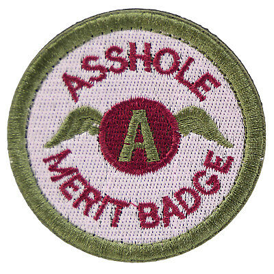 Asshole Merit Badge Patch Hook Loop Sew Embroidered Boy Scout Cosplay Funny Joke