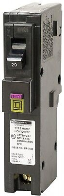 Square D Homeline Circuit Breaker 20A Single Pole Plug On Neutral Dual Function