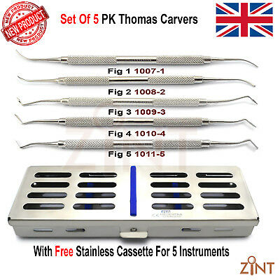 5Pcs Wax And Modelling PK Thomas Lab Technician Carvers With Stainless Cassette