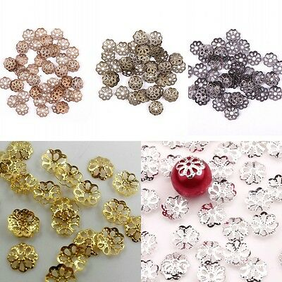500pcs Silver Gold Plated Metal Flower Bead Caps 6mm Jewelry Findings