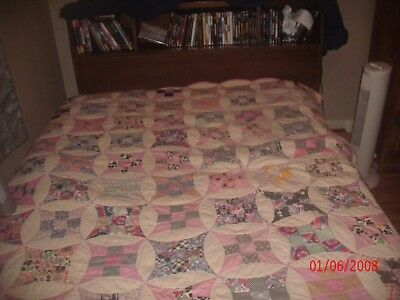 Vintage/Antique 92x78 Hand Stitched Old Pink Quilt Multicolored pinwheel