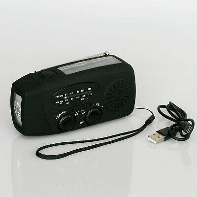 Dynamo Solar Hand Crank AM FM Radio & Power Bank & LED Flashlight - Black