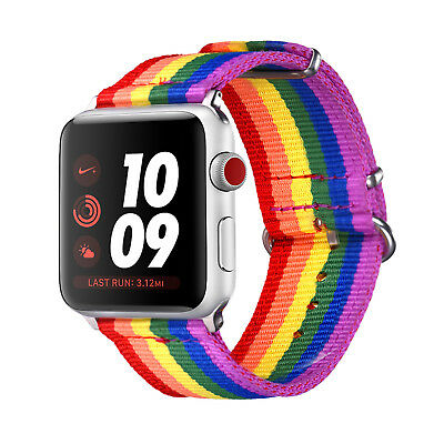 Gay Pride Rainbow Nylon Wrist Band Strap Denim Bracelet for Apple Watch 38/42mm