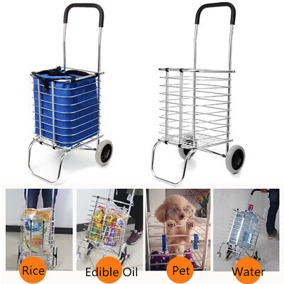 2 Wheel Aluminum Folding Portable Shopping Market Grocery Basket Cart Trolley AU