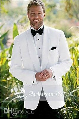 Custom Made White Groom Tuxedos Groomsman Suits Formal Occasion Mne's Tuxedos