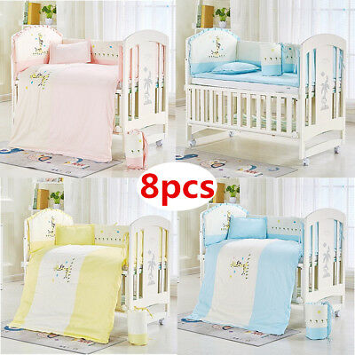 8pcs Baby Crib Bedding Set Embroidery Deer Cotton Bumpers Quilt Pillow Cot Sheet