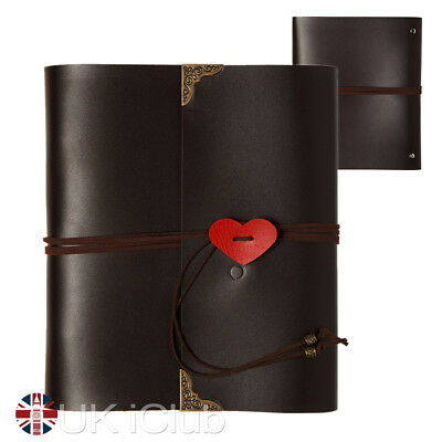 """Leather Photo Album 6x4"""" large vintage 120 Pictures Self-Adhesive Scrapbook note"""