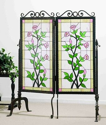 "Gerardia Stained Art Glass & Metal 2 Panel Room divider Meyda Lighting 52"" x 63"""
