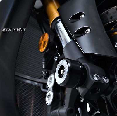 R&G RACING ONE PAIR BLACK FORK PROTECTORS for Yamaha MT-10 (2018)