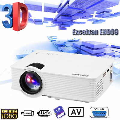 Mini LED Projector Home Cinema 3D Full HD 1080P HDMI for Smartphone Laptop PC
