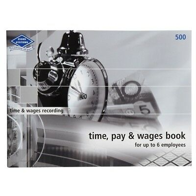 ZIONS 500 TIME PAY AND & WAGES RECORDING BOOK 6 STAFF EMPLOYEES 210mm x 285mm Oz