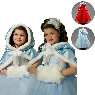 Princess Kid Girl Cinderella Costume Halloween Xmas Fancy Dress + Cape Party Set