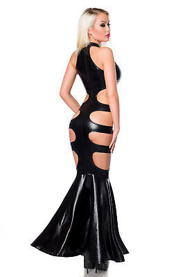 Sexy Wetlook Kleid Abendkleid Ballkleid Lederlook Schwarz Saresia XS S M L XL