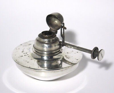 Antique Portable Oil Lamp with Adjustable Wick and Integral Snuffer