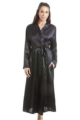 Camille Womens Black luxe Satin robe