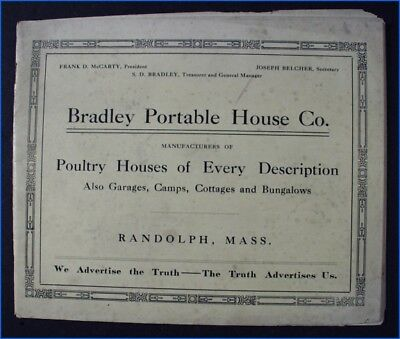 Vintage 1915 Bradley Portable Poultry House Co. Catalog Booklet
