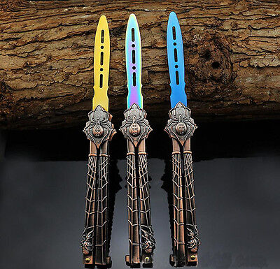 New METAL BUTTERFLY Trainer Practice Stainless Steel Dull Knife Colorful Araneid