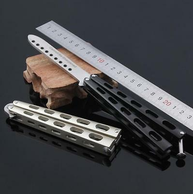 New Practice BALISONG BUTTERFLY Tactical Combat Trainer METAL Knife with Sheath