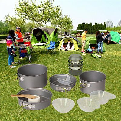 4/8/9pc Portable Outdoor Hiking Camping Cookware Cooking Set Picnic Bowl Pot PGP