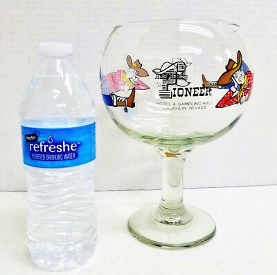 Vtg Pioneer Hotel Gambling Hall Footed Cocktail Glass 40oz Laughlin