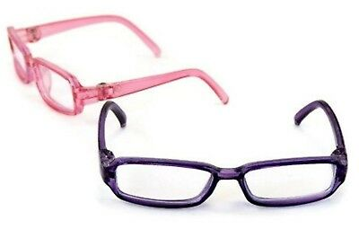 """Pink & Purple Rimmed Glasses for 14.5"""" American Girl Wellie Wishers Wisher Dolls"""