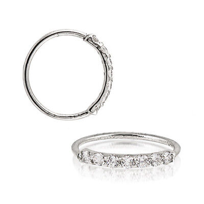Sterling Silver 925 Silver, Black, Gold, Rose Gold 7 CZ Hoop Ear Nose Ring 20G