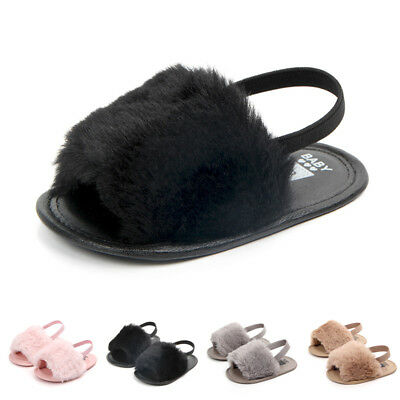 Fur Princess Baby Summer Infant Shoes Sandals Soft Fluffy Newborn Toddler Girl