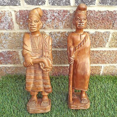 Yoruba Pair Hand Carved Figures - Nigerian Batá Drummer & Tribal Elder
