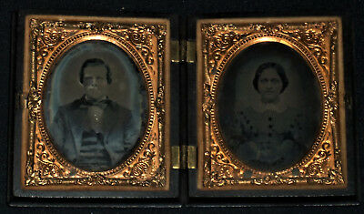 Pair of Vintage 1800's 1/9th Plate Ambrotypes of Man & Wife/Union Case