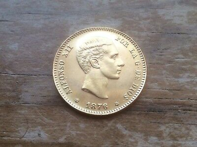 1876 Gold Spain 25 Pesetas Young Alfonso Xii Coin @@@ Must See @@@
