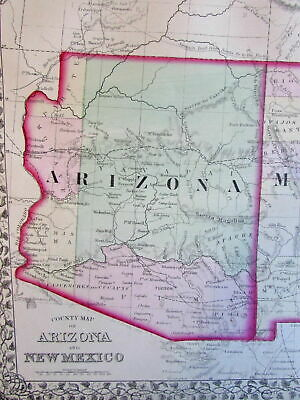 Arizona New Mexico western U.S. 1874 Mitchell fine old map detailed hand color