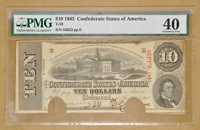 1863 $10 Confederate States of America Currency T-59 EF40 PMG