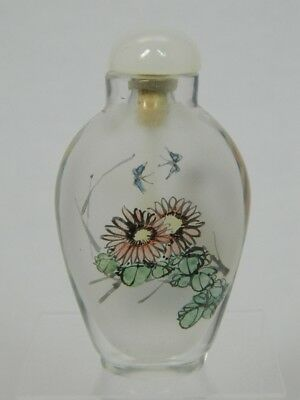 Snuff Bottle Glas mit Innenmalerei Inside Painting Snuffbottle China 20. Jhd.