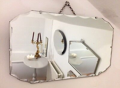 "VINTAGE 1930s ART DECO 24"" X 14"" FRAMELESS SCALLOPED BEVELLED WALL MIRROR"