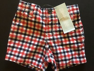 New GYMBOREE Black/White/Red Checked Baby Boy Shorts Size 3-6 months